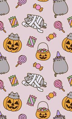 Pusheen goes trick-or-treating - Halloween Wallpaper Halloween Wallpaper Iphone, Fall Wallpaper, Halloween Backgrounds, Kawaii Wallpaper, Wallpaper Backgrounds, Pumpkin Wallpaper, Unique Wallpaper, Wallpaper Ideas, Gato Pusheen