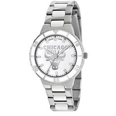 Game Time Pearl Series Chicago Bulls Stainless Steel and White Ceramic... ($72) ❤ liked on Polyvore featuring jewelry, watches, grey, bezel watches, white watches, ceramic bezel watches, pearl watches and dial watches