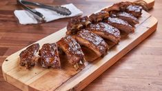 Father's Day baked pork ribs with apple butter bourbon sauce