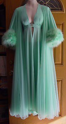 Vintage Lucie Ann Claire Sandra Marabou Seafoam Green Gown Robe Pegnoir M-LRARE