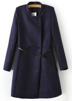 Navy Red Stand Collar Long Sleeve Belt Outerwear US$39.67