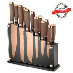 Forte 13pc Block Set | Hamptonforge.com love these rose gold knives