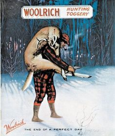 Vintage Woolrich ad's, powder room wall décor