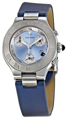 Cartier best watches for Women W1020013 Chronoscaph Blue Sunburst Dial Watch: Watches