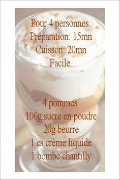 recette liégeois pommes Verrine Fruit, Tasty, Yummy Food, Tiramisu, Nutrition, Crepes, Food Videos, Mousse, Food And Drink