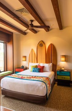 Polynesian Bora Bora Bungalows - One of the most expensive hotel rooms at Walt Disney World! Casa Disney, Disney Rooms, Disney Hotels, Hawaiian Bedroom, Hawaiian Decor, Bora Bora Bungalow, Surfboard Decor, Surf Decor, Hawaiian Homes