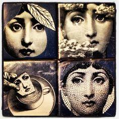 Fornasetti faces. Choses Cool, Piero Fornasetti, Fornasetti Wallpaper, My Art Studio, Plate Design, Italian Artist, Art For Art Sake, Vintage Labels, Collage Art