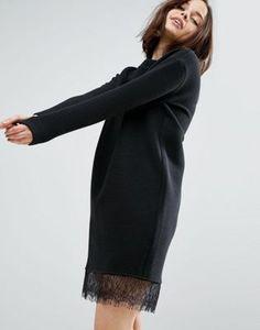 Трикотажное платье в рубчик с кружевом по краю ASOS