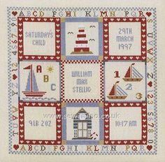 Buy Saturday's Child Boy Birth Sampler Cross Stitch Kit online at sewandso.co.uk