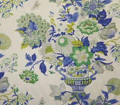Williamsburg Portobello Vase Laurel Floral Linen. FOR dining room chairs.