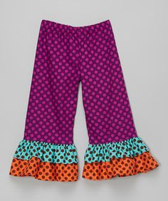 This Purple Polka Dot Double Ruffle Pants - Infant, Toddler & Girls by Waistin' Away is perfect! #zulilyfinds