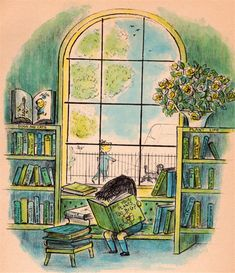 Are your plants too big? Children's book illustration by Margaret Bloy Graham. Reading Art, Kids Reading, Lectures, Vintage Children's Books, Children's Literature, Children's Book Illustration, Book Illustrations, Book Nooks, I Love Books