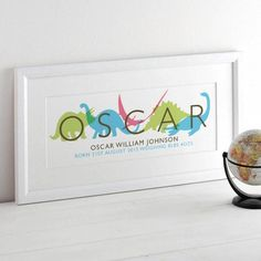 A graphic illustration with your child's name highlighted in front of a parade of multi coloured dinosaurs. New Baby Presents, Visual Communication Design, Nursery Pictures, Personalized Gifts For Kids, Kids Story Books, Childrens Gifts, Special Birthday, Baby Boy Nurseries, Pictures To Paint