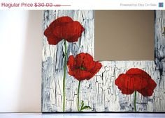 20 % off SALE Poppy decoupage mirror home decor living by CatHot Diy Decoupage Frame, Frame Crafts, Diy Frame, Foto Frame, Dollar Store Crafts, Rooms Home Decor, Interior Design Living Room, Ikea, Picture Frames