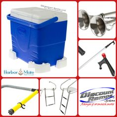 Harbor Mate Marine Products by RAGE Powersports. Boat accessories include Cooler mounting kit ~ Boat horns ~ Telescoping boat hook ~ Manual bilge pump ~ Telescoping boat ladder with swim platform. From DiscountRamps.com