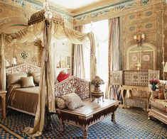 Hand-painted, gilded, and semiprecious stone-ornamented Syro-Turkish paneled room, carved and adorned with marble and colored stones, featuring a gilded canopy bed. Description from pinterest.com. I searched for this on bing.com/images