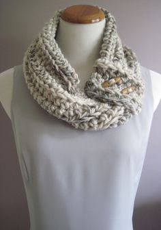 Crochet Cowl Neckwarmer - Shades of Cream and Brown with Wood Toggle Buttons - Soft Wool Blend