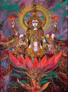Lakshmi is a symbol of prosperity, the goddess of wealth. Original painting by Abhishek Singh of India, painting modern interpretations of hindu mythology.