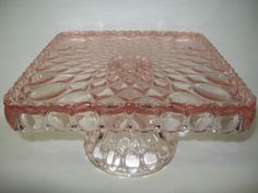 Square Pink Rose Glass cake serving stand plate platter pedestal raised tray art | eBay