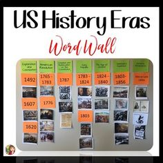 Engage your students with an Era Word Wall for US History. This resource is designed for you to create an interactive era wall in your classroom. Research shows the benefit of word walls for our stude (Step Class Benefits) Teaching Us History, World History Classroom, Teaching American History, History Teachers, History Education, Teaching Resources, Classroom Timeline, Social Studies Classroom, Teaching Social Studies