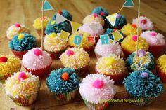 Pom Pom cupcake traktatie. Party treats.