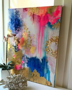 Pinks and blues under a reflective layer of art resin etsy artist art moder Art Feuille D'or, Painting Inspiration, Art Inspo, Art Resin, Resin Crafts, Gold Leaf Art, Art Diy, Paintings I Love, Art Paintings