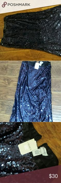 Beautiful navy sequin skirt Brand new with tags Carmin, elegant evening sequin a line skirt in navy sequin. Sz 8 carmin Skirts A-Line or Full