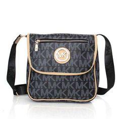 Michael Kors Logo Monogram Zip Large Black Crossbody Bags - $75.99