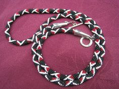 Bead Crochet rope Necklace in black, white and Garnet. $95.00, via Etsy.