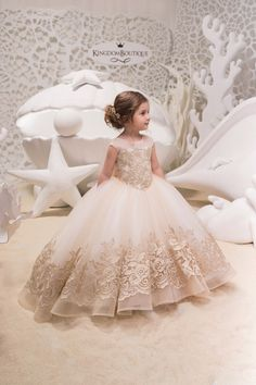 Ivory Cappuccino Lace Tulle Dress – Birthday Wedding party Bridesmaid Holiday Ivory Cappuccino Tulle Lace Belle Dress – The World Gold Flower Girl Dresses, Little Girl Dresses, Girls Dresses, Baby Pageant Dresses, Lace Flower Girls, Tulle Skirt Bridesmaid, Tulle Dress, Tulle Skirts, Tulle Lace