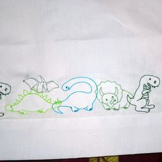 Dinosaur Embroidered Pillowcase by 21CannonSalute on Etsy