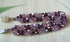 Purple Crystal Woven Bead Bracelet - pretty color combo:amethyst and light violet w/aurora borealis-lt and dk seed beads