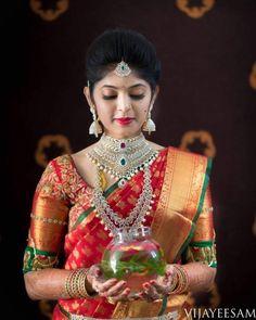 The sheer magic of bridal portraits by Vijay Eesam Indian Bridal Makeup, Indian Bridal Fashion, Bridal Silk Saree, Saree Wedding, Wedding Saree Blouse Designs, South Indian Bride, Kerala Bride, Hindu Bride, Marathi Bride