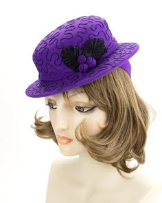 1940s Style Purple Tilt Hat. Violet Wool Perching Hat. Vintage Inspired Percher with Navy Soutache Design. Purple Wool Felt Ladies Millinery Vintage Wool, Etsy Vintage, 1940s Fashion, Vintage Fashion, Scarf Display, Invisible Stitch, Flapper Hat, Hat Blocks, 1940s Style