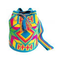 Authentic Wayuu Mochila - Multicolores Turqoise Base - Tribal Geometric Patterns - Large