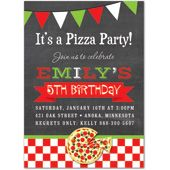 Pizza Party Invitations - Pizza theme Kids Birthday Invitation featuring chalkboard, red, green and white Italian buntings, checkerboard and vintage banners