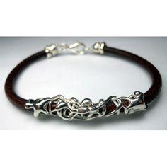 Bracciale in argento e cuoio