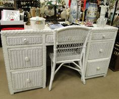 White Wicker Desk And Chair Set Furniture Pinterest Chairs White Wicker And Desks