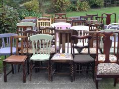 Some of our beautiful mismatched chairs all washed and lined up ready to be loaded up for our next lovely wedding.... Birdcagesanddragonflieshire@gmail.com