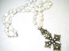 Antique Ethiopian cross, baroque pearls, sterling silver  OIE JEWELRY
