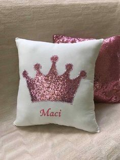 Items similar to Personalized Pillow- Nursery room decor pillow - Boys throw pillow - girls throw pillow - Sequin Crown Pillow - babyshower gift - custom on Etsy Cute Pillows, Baby Pillows, Colorful Pillows, Kids Pillows, Throw Pillows, Fabric Crown, Cushion Cover Designs, Personalized Pillows, Sewing Pillows