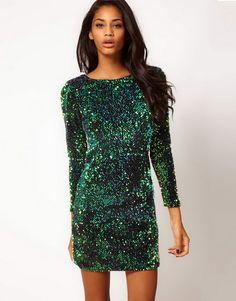 Groene pailletten jurk