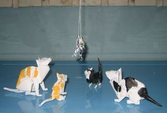 Akira Yoshizawa is my origami idol. I fold many his models and learn a lot about the trimming skills, especially, wet folding. Chat Origami, Origami Cat, Origami Artist, Origami Paper Art, Paper Crafts, Traditional Japanese Art, Origami Flowers, Art For Art Sake, Cat Design