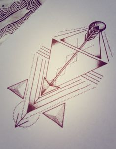Various arrows minimal tattoo design with triangles