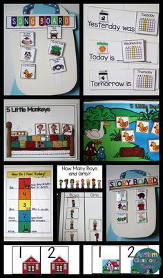 morning meeting for preschool and elementary special education classrooms. Autism Classroom, Preschool Classroom, Classroom Activities, Classroom Ideas, Weather Activities, Kindergarten, Calendar Skills, Calendar Time, Preschool Special Education