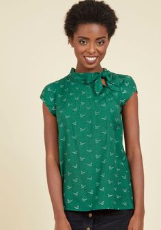 Up, Up, and Amaze Top in Dinos - Green, Green, Novelty Print, Tie Neck, Work, Short Sleeves, Fall, Woven, Better, Exclusives, Variation, Crew, Critter Gifts, Under 50 Gifts