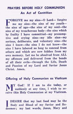 Beautiful traditional Prayers for Holy Communion