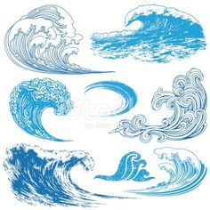 Collection of waves in different techniques. Wave Elements royalty-free wave elements stock vector art & more images of blue Wave Drawing, Doodle Drawing, Painting & Drawing, No Wave, Art And Illustration, Illustration Techniques, Watercolor Illustration, Handpoked Tattoo, 1 Tattoo