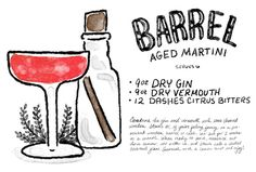 Barrel-Aged Martini  9 oz Dry Gin 9 oz Dry Vermouth 12 Dashes Citrus Bitters  Combine the gin and vermouth with some charred wooden staves (likethese from Tuthilltown Spirits). Or, if you're feeling fancy, you can try a wooden barrel or cask, soaked in water beforehand or else your spirits will leak out everywhere.Let it sit for a long while – two weeks to one month if you can stand it. When ready to serve, measure out three ounces, stir with ice, and strain into a chilled cocktail glass…