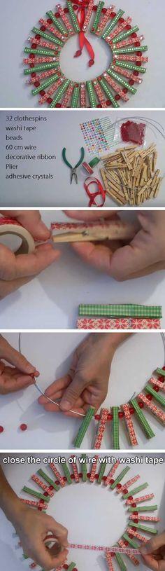 Decorative Clothespins | 20+ Super Easy DIY Christmas Wreaths